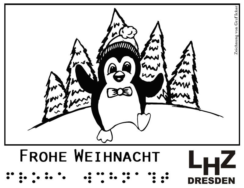 Weihnachtspinguin vor Tannenwald